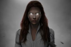Black Widow Glowing Eyes 5k Wallpaper