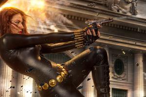 Black Widow Killing The Enemies Wallpaper