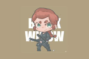 Black Widow Minimal Chibbi 4k
