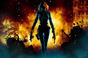 Black Widow Walking Through Fire
