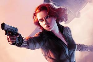 Black Widow With Gun Artwork Wallpaper