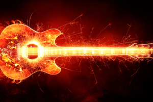 Blazing Guitar Wallpaper