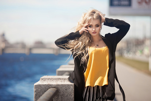 Blonde Black Open Coat Wind 4k Wallpaper