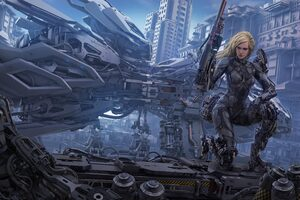 Blonde Cyborg Futuristic Girl