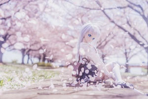Blonde Doll Sitting Sakura 4k Wallpaper