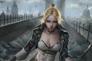 Blonde Girl Art4k Wallpaper