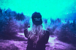 Blonde Girl Cap Colorful Cyan Photography