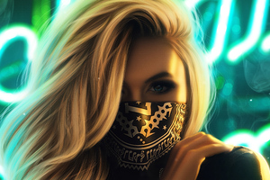 Blonde Girl Face Mask 4k Wallpaper