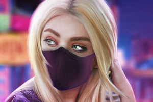 Blonde Girl Green Eyes With Mask 4k Wallpaper