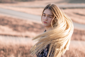 Blonde Girl Hairs In Air 4k Wallpaper