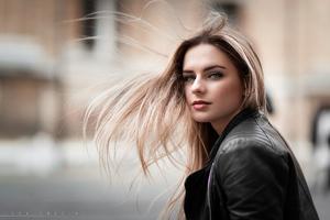 Blonde Girl Hairs In Air