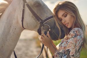Blonde Girl Horse Hugging Eyes Closed 4k Wallpaper