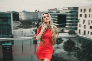 Blonde Girl In Red Dress Smiling 4k Wallpaper