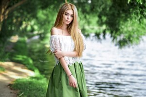 Blonde Girl Outdoors Wallpaper