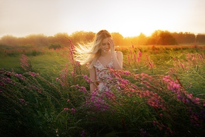 Blonde Girl Outdoors In Field Wallpaper
