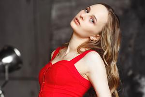 Blonde Girl Red Clothing 5k