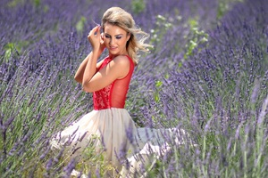 Blonde Girl Red Dress Lavender Field 4k Wallpaper