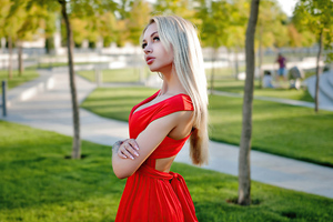 Blonde Girl Red Dress Looking Upward 4k Wallpaper