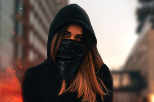 Blonde Girl Sitting Face Covered 4k Wallpaper