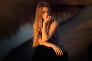 Blonde Girl Sitting Sunrays On Face 4k