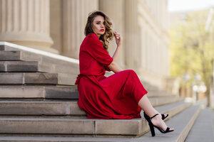 Blonde Girl Swirl Hairs Red Dress Sitting On Stairs Wallpaper