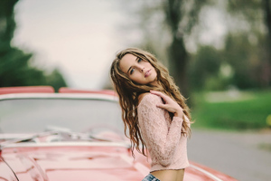 Blonde Girl With Car Wallpaper