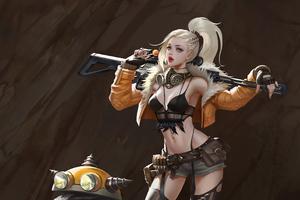 Blonde Girl With Gun 4k