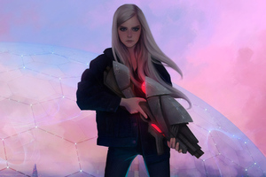 Blonde Girl With Gun Science Ficiton Wallpaper
