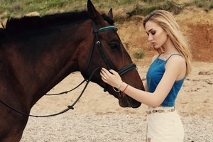 Blonde Girl With Horse 5k Wallpaper