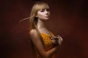 Blonde Girl Yellow Polka Dot Dress 4k