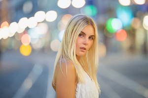 Blonde Hair Bokeh Effect 5k