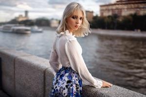 Blonde Hair Girl Outdoor Looking Back