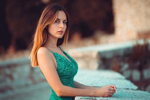 Blonde Hair Green Dress Girl Roof Looking At Viewer Wallpaper