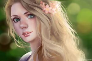 Blonde Women Digital Art 4k