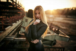 Blonde Women In Leather Jacket