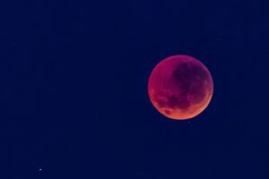 Blood Red Moon In Blue Sky Wallpaper