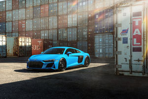 Blue Audi R8 Jenn 8k Wallpaper