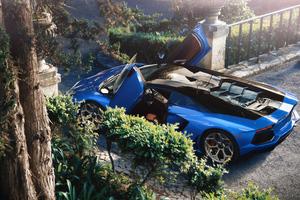 Blue Aventador 4k