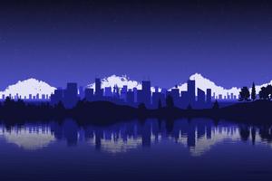 Blue Cityscape Minimalist Wallpaper