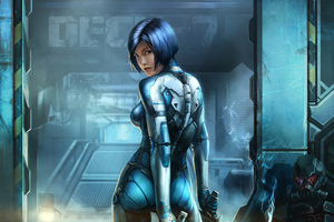Blue Cyberpunk Cyborg Girl