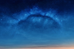 Blue Dawn Halo Scifi Nebula Space Digital Art Wallpaper