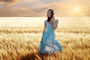 Blue Dress Girl Field Summers 4k