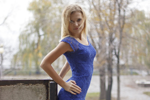 Blue Dress Girl Outdoor Wallpaper