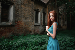 Blue Dress Red Hair 4k Wallpaper