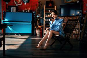 Blue Dress Women Sitting Chair 4k Wallpaper
