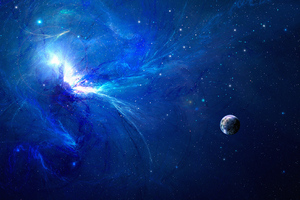 Blue Explosion Space Wallpaper
