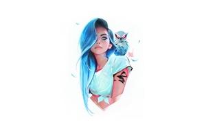 Blue Eyes Blue Hair Girl With Owl