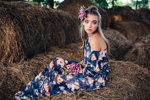 Blue Eyes Brunette Girl With Flower On Head 4k Wallpaper