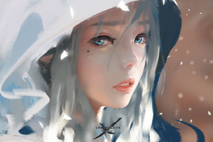Blue Eyes Face Girl In Hood Wallpaper