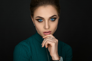 Blue Eyes Girl Closeup Portrait Wallpaper